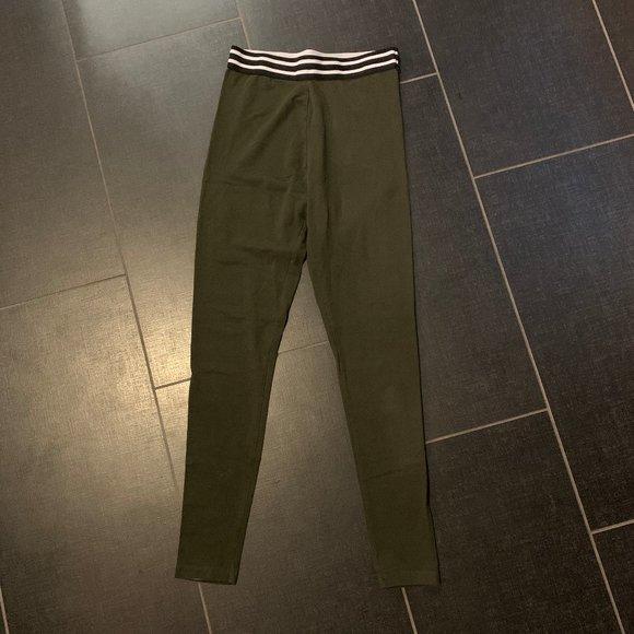 Forever 21 Pants - Forever 21 Olive Green Stripe High-Waist Leggings